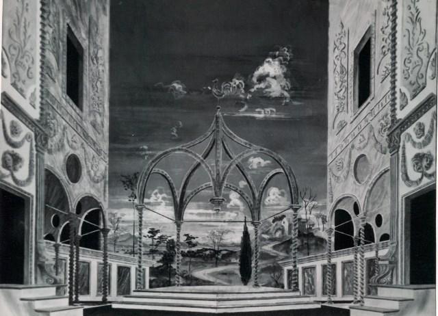 Zkrocení zlé ženy, 1952, Krajské oblastní divadlo, Olomouc, scenography: Oldřich Šimáček (Scénografický fond IDU)