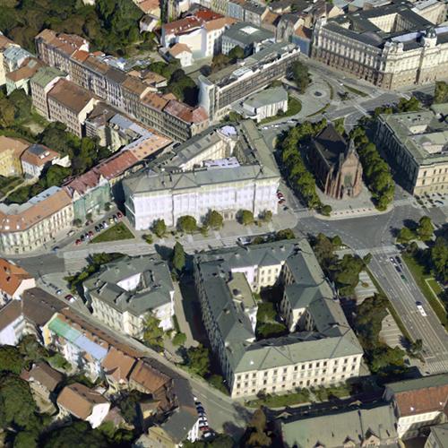 Letecký pohled na fakultu.