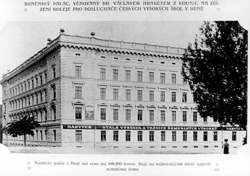 Kaunicův palác, počátek 20. let 20. stol.