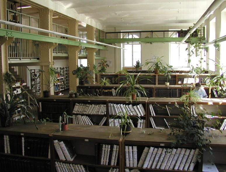 Knihovna tehdejší lékařské fakulty s památným jeřábem. Foto: archiv FSS