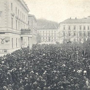 Manifestace za druhou českou univerzitu v Brně 8. 11. 1913