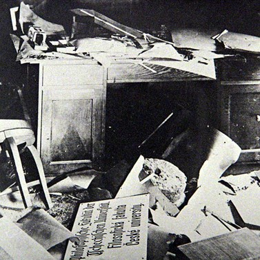 One of the offices at the Faculty of Arts after the end of the war