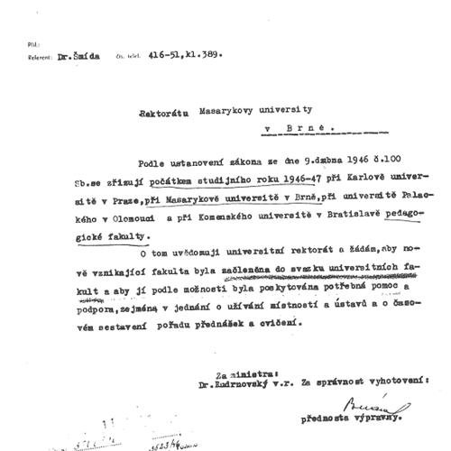1946 - založení Pedagogické fakulty Masarykovy univerzity
