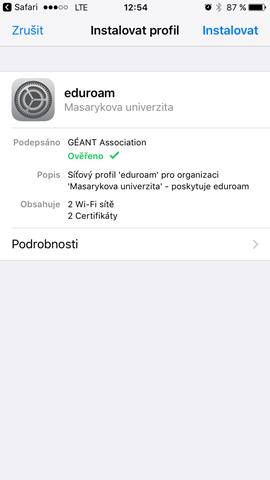 Eduroam For Ios Iphone Ipad Ipod It Services At Masaryk Univesity