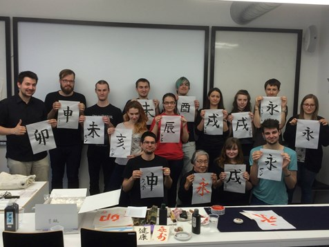 Delighted students with their creations after the workshop with Shigetsu Shinohara in 2015