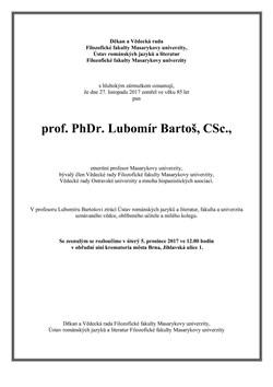Ve věku 85 let zemřel prof. PhDr. Lubomír Bartoš, CSc.