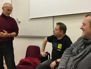 Beseda profesora Lubomíra Machaly se slovenským spisovatelem Ballou a jeho nakladatelem Kolomanem Kertészem Bagalou