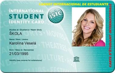 Ukázka karty ISIC