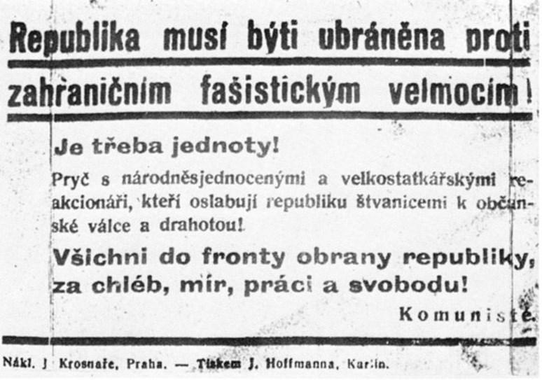 Leták Komunistické strany Československa proti fašistické agresi Německa. Public domain.