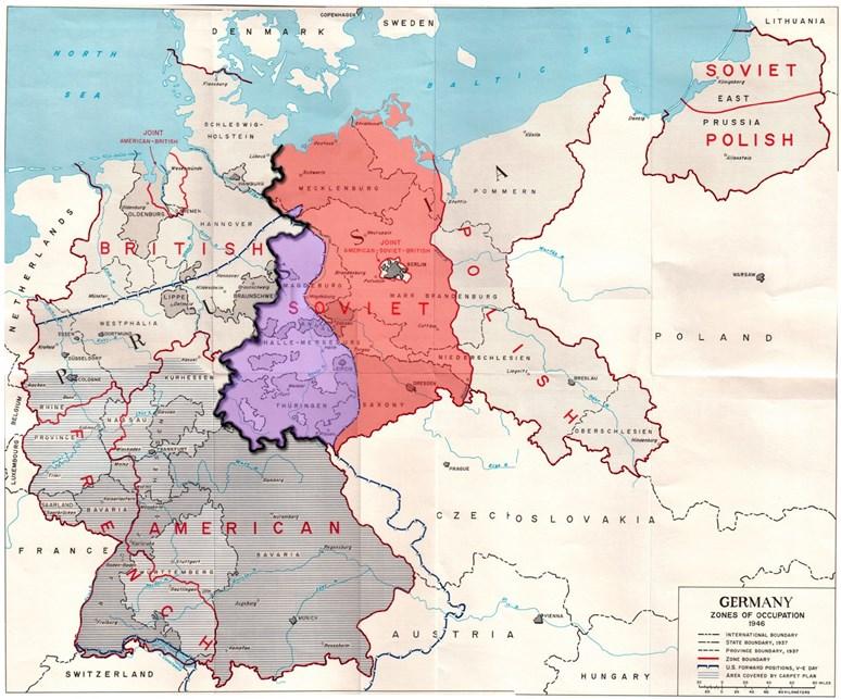 Mapa okupačních zón v poválečném Německu včetně vyznačení demarkační linie na území Československa, US Army, Wikimedia Commons, Public domain