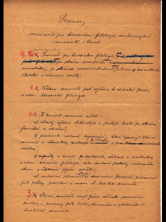 Koncept stanov semináře pro klasickou filologii. Zdroj: Archiv MU.