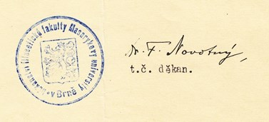 A signature of František Novotný as a dean. Source: Archive of MU.