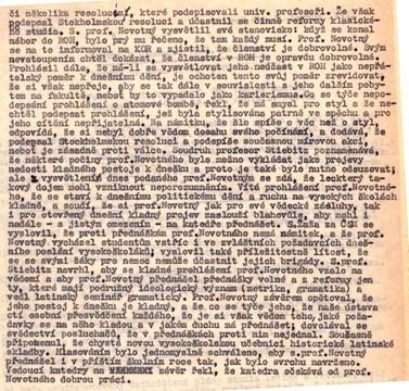 Ideologické problémy Františka Novotného ve zprávě o činnosti katedry, 1951. Zdroj: Archiv MU.