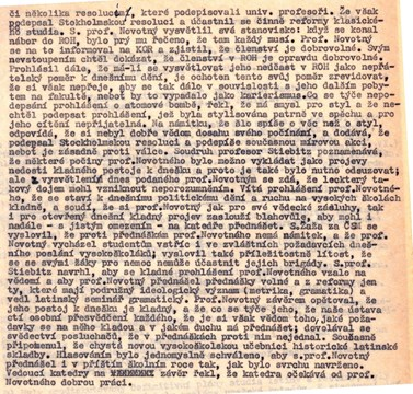 Political problems of František Novotný in the report about the function of the department, 1951. Source: Archive of MU.