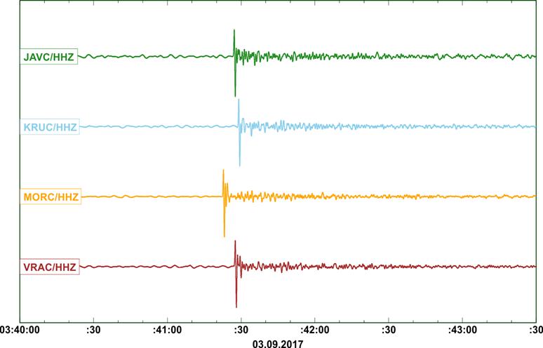 Ukázka signálu na vertikálních složkách širokopásmových stanic ÚFZ.  Čas na seismogramu je uveden v UTC (SELČ - 2 hodiny)