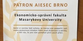 The faculty was awarded by AIESEC Brno