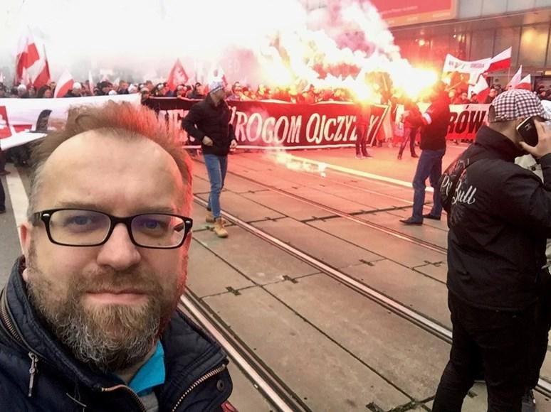 Miroslav Mareš se na služebních cestách účastní demonstrací. Foto: archiv Miroslava Mareše