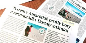 Test Antarktidou v médiích