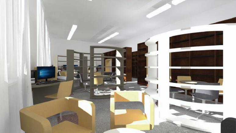 Oranžová studovna se stane prostorem pro společné učení. Foto: Knihovna FSS