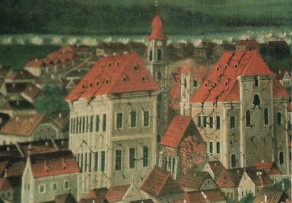 Umělecké vyobrazení místních účinků zemětřesení u Komárna  v r. 1763 (malba K. Friedla).