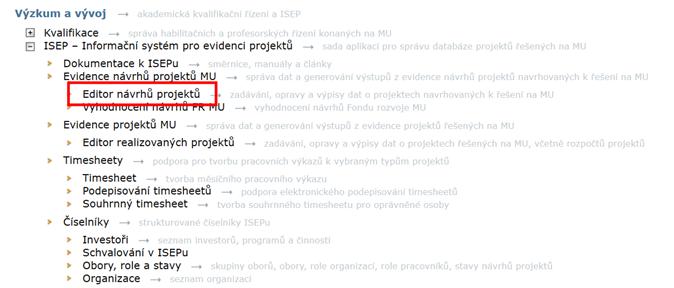 Editor návrhů projektů