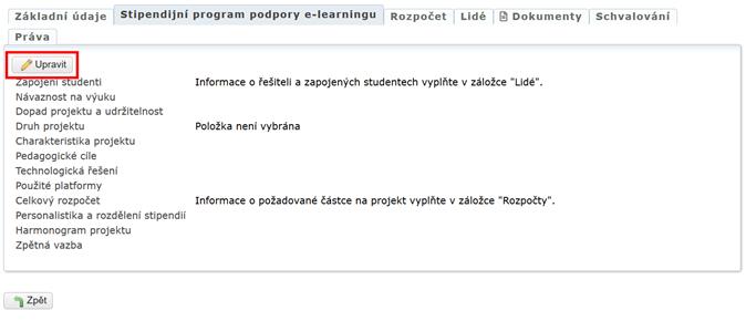 Editace agendy