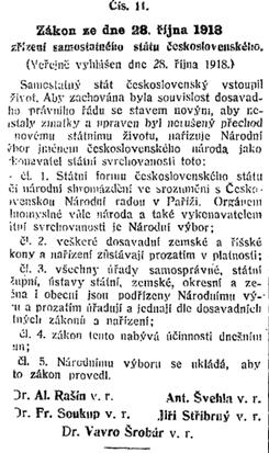 Text zákona č. 11/1918 Sb. z. a n.