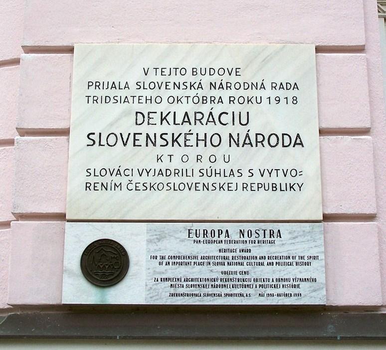 Pamětní deska na budově bývalé Tatra banky v Martině připomínající přijetí Martinské deklarace, Darwinek, Wikimedia Commons, CC BY-SA 3.0