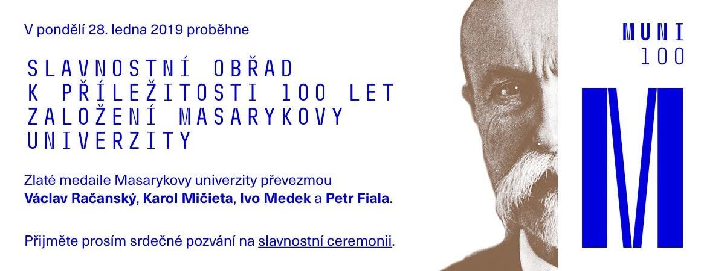 Pozvánka na slavnostní obřad ke 100 letům založení Masarykovy univerzity