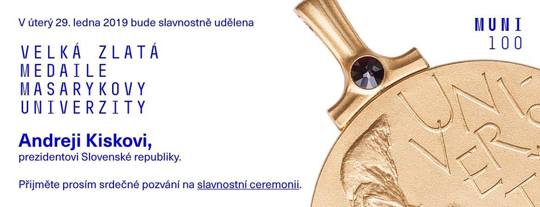 Pozvánka na udělení velké zlaté medaile Andreji Kiskovi