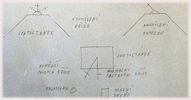 Vlastnoruční náčrtek situace v číhošťském kostele od P. Toufara, z dopisu spolubratru Janu Dvořákovi.