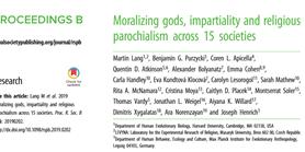 Nový článek testující vliv moralizujících bohů na vnitro/meziskupinovou spolupráci