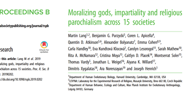 New article testing the influence of moralizing gods on intragroup and intergroup cooperation