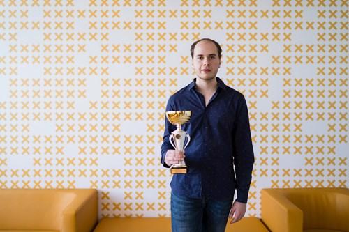 Výherce turnaje Martin Fargač z Filozofické fakulty MU.