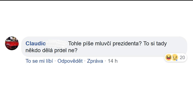 A vy jste mluvčí? Foto: Facebook Jiřího Ovčáčka, příspěvek ze dne 1. 12. 2018 www.facebook.com/pg/jiriovcacekunofficial
