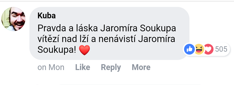 Pravda a Láska Jaromíra Soukupa. Foto: Facebook Jiřího Ovčáčka, komentář ze dne 20. 1. 2019