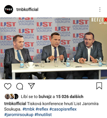 Tiskovka Jaromíra Soukupa. Foto: Instagram TMBK