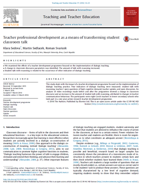 Teacher professional development as a means of transforming student classroom talk