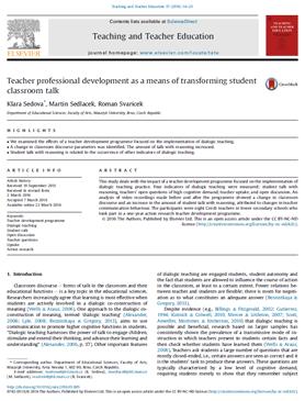 Teacher professional development as ameans of transforming student classroom talk