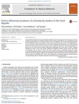 Factors influencing acceptance of e-learning by teachers in the Czech Republic