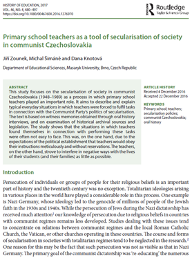 Primary school teachers as atool of secularisation of society in communist Czechoslovakia