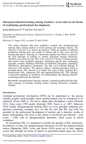 Intergenerational learning among teachers: overt and covert forms of continuing professional development