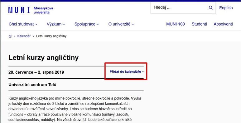 U událostí přibyla možnost vložení akce do Google / O365 kalendáře