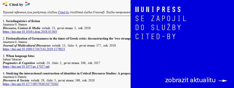 MUNIPRESS začal využívat službu Crossref Cited-by
