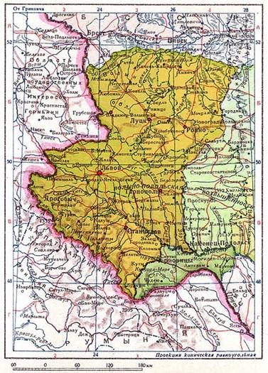 Foto 2: Mapa z roku 1940 ukazující někdejší polské území připojené k Ukrajinské SSR (žlutě), Soviet government, Wikimedia Commons, Public domain