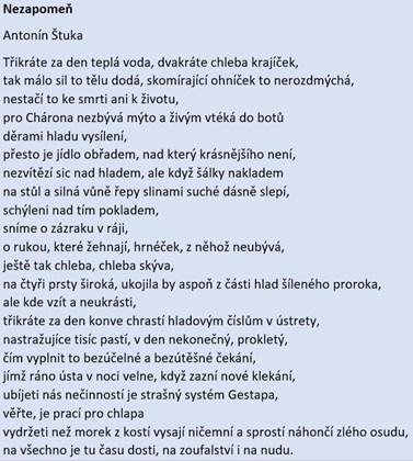 Úryvek z básně Nezapomeň od Antonína Štuky.