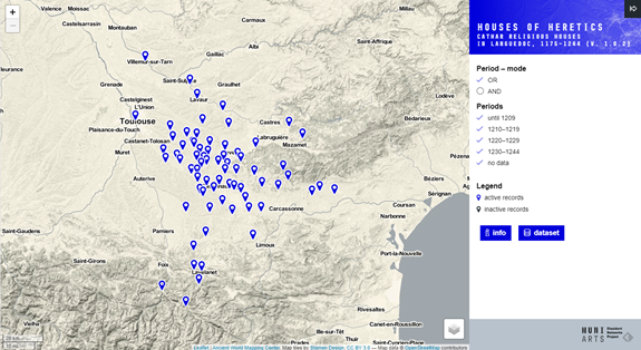 Map of cathar religous houses in Languedoc, 1175-1244