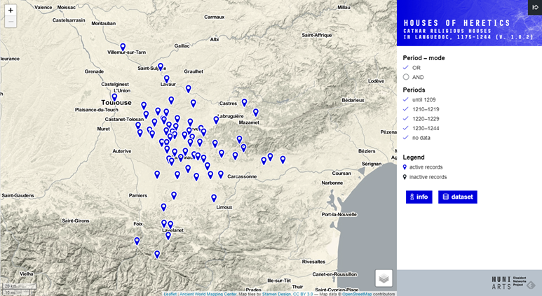 Map: Cathar houses, 1175–1244