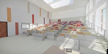 Rekonstrukce přednáškových místností PrF MUNI čeká na zahájení, k dispozici je i jejich vizualizace