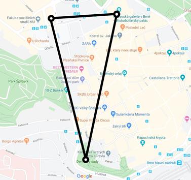 Kompoziční trojúhelník rozprostírající se od Červeného kostela k Denisovým sadům a kostelu sv. Tomáše. Zdroj: Google maps
